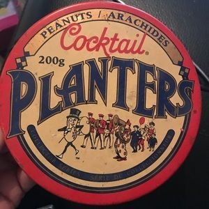 Planters Peanuts tin and two coasters